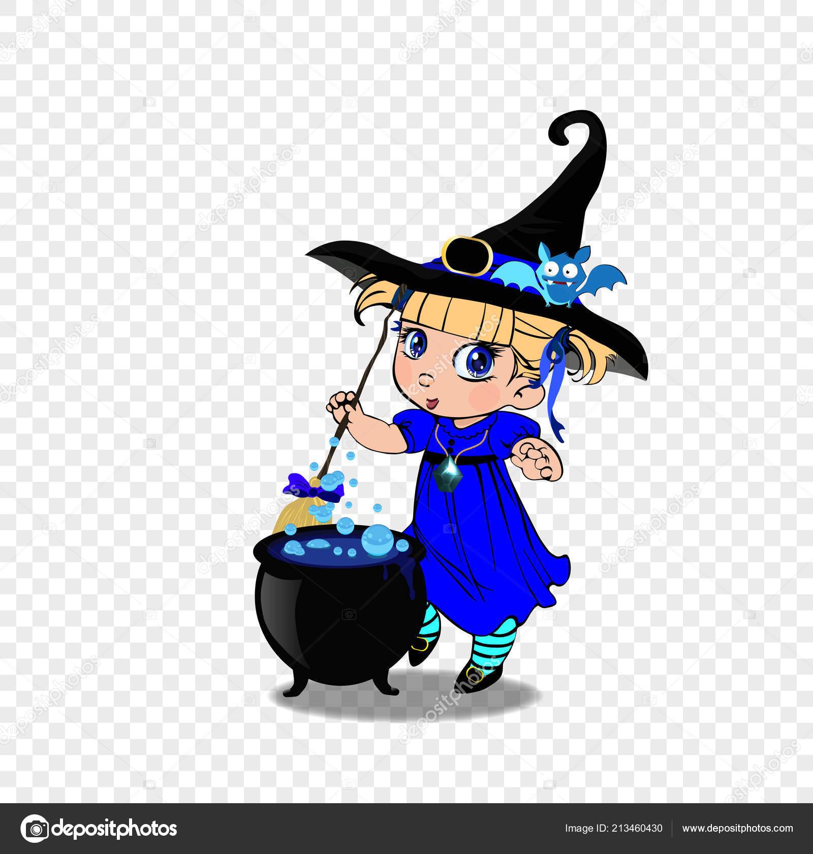 Illustration Dessin Animé Vecteur Petite Fille Robe Bleue