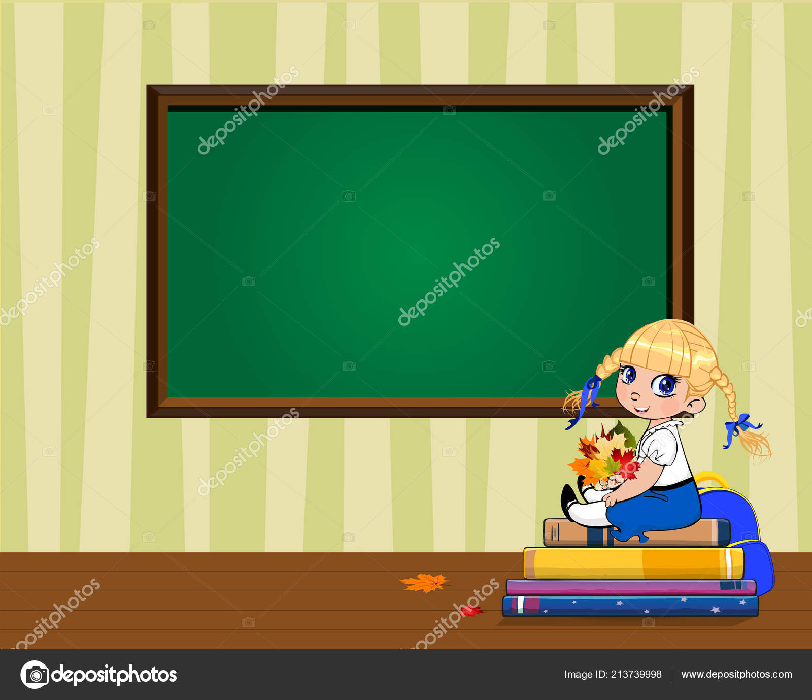 Cute Cartoon School Girl Sitting Books Pile Bouquet Autumn