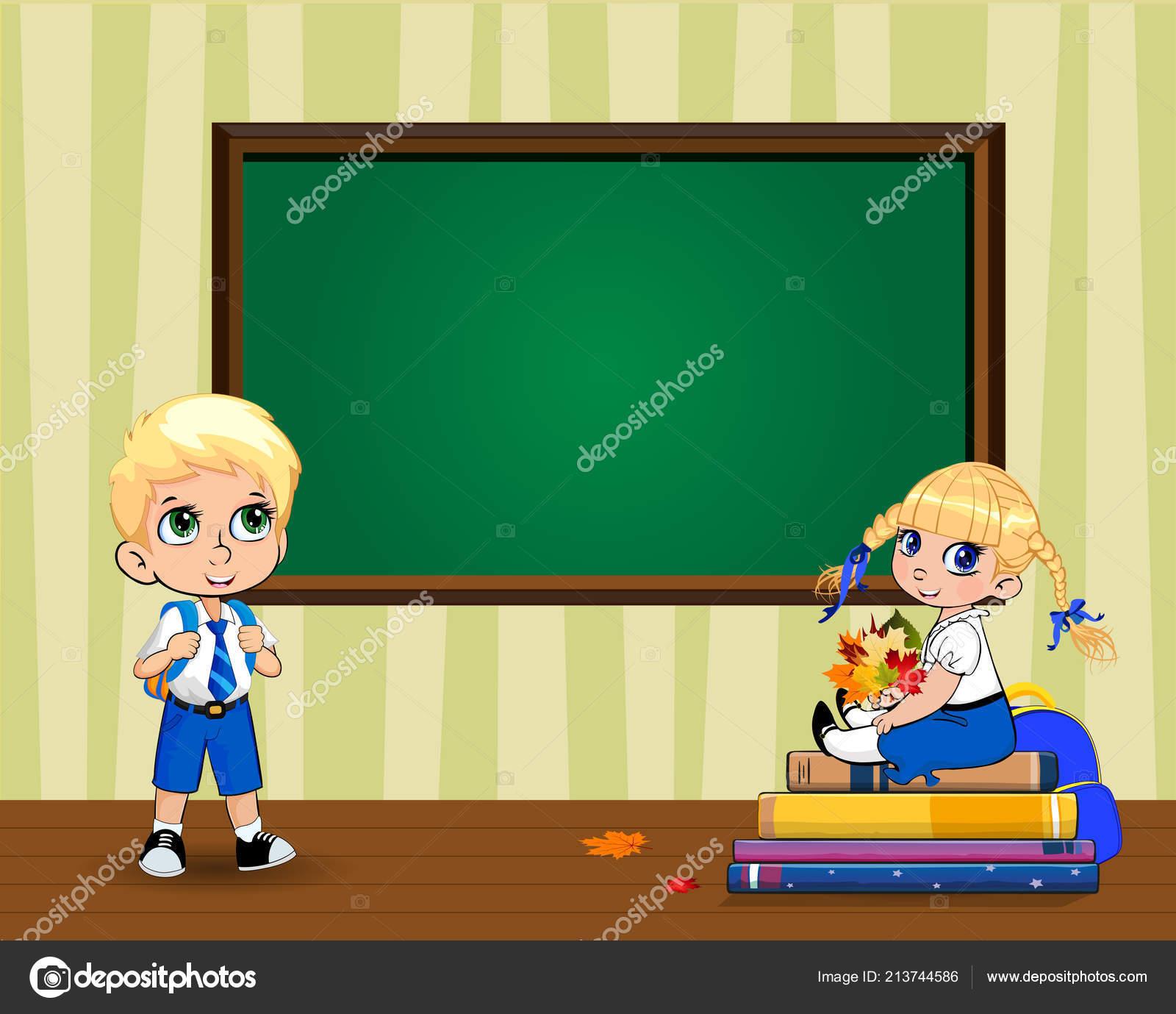 Simpatico Cartone Animato Scuola Bambini Vicino Cancellare Lavagna
