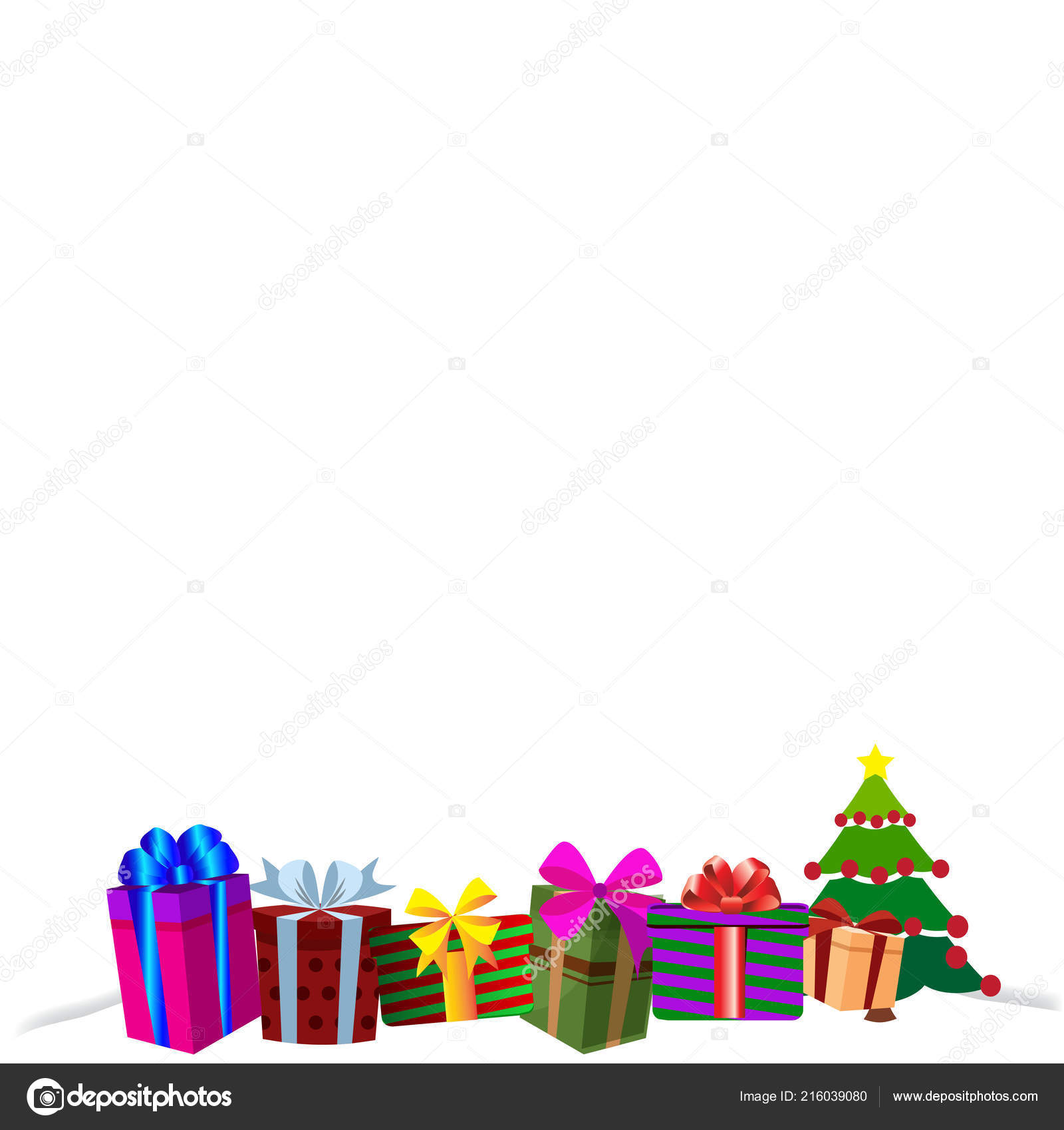 colourful gift boxes on white snow drift christmas or new year border frame background vector illustration of different size presents decorated by ribbons