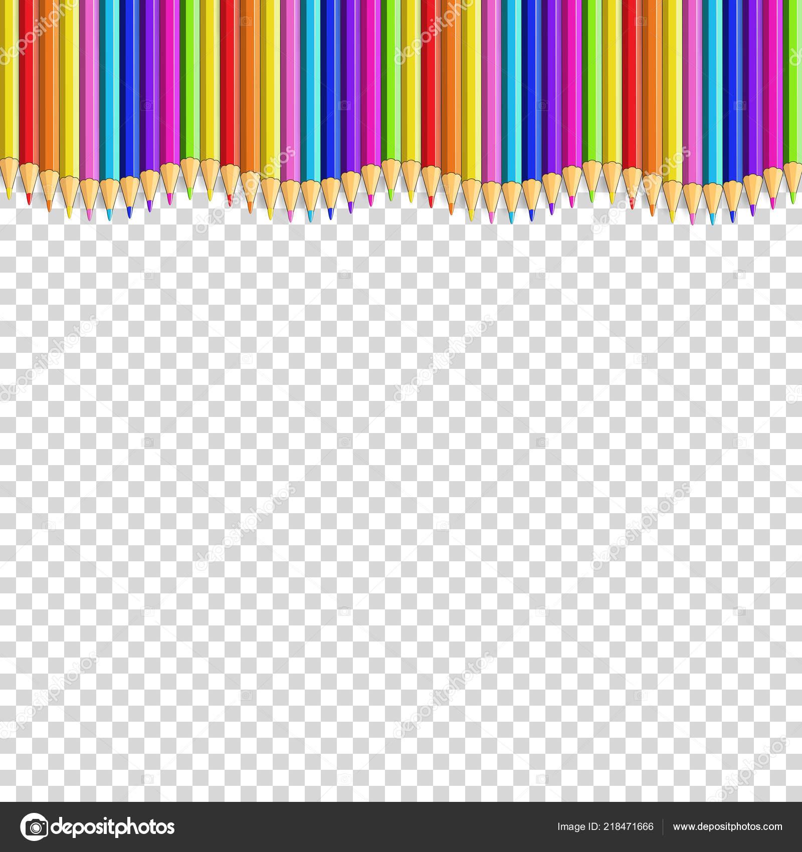 colored pencils line shape wave multicolored border frame empty copy