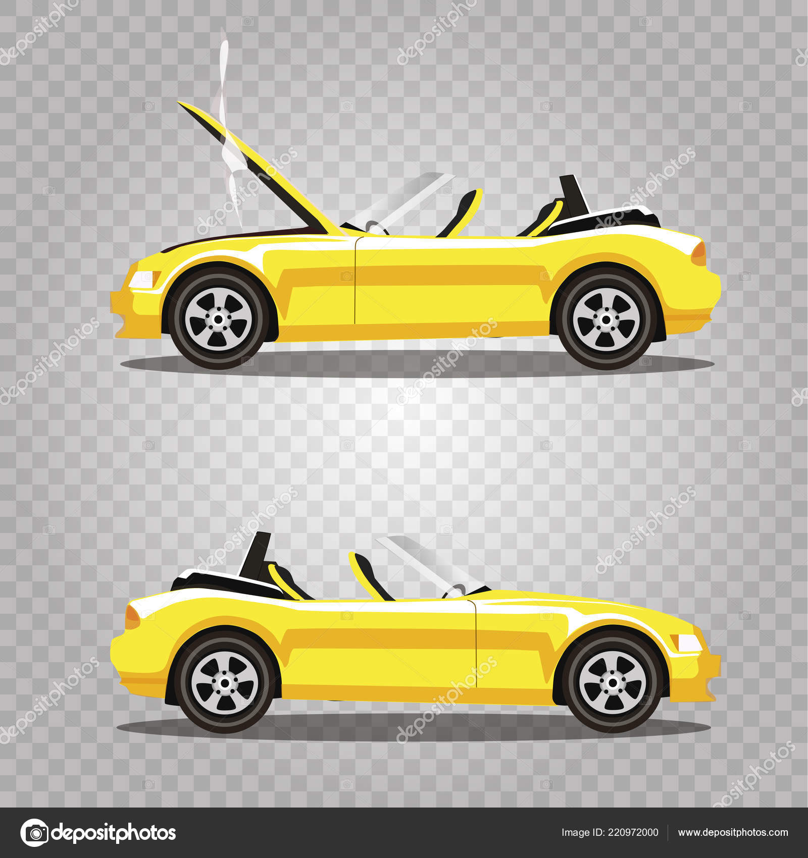 Vector Set Broken Yellow Luxury Cabriolet Sport Cartoon Car Opened