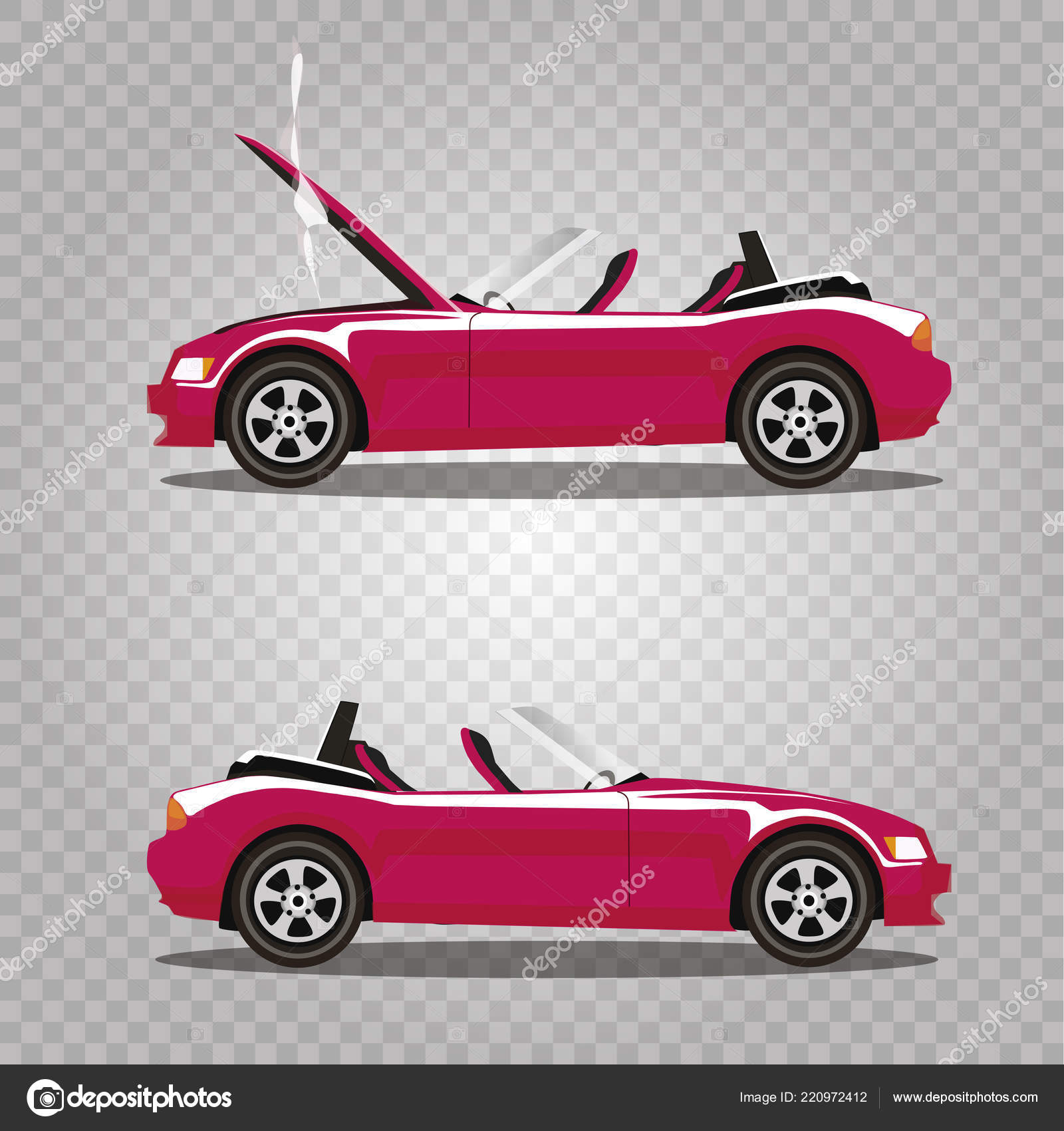 Vector Set Broken Pink Luxury Cabriolet Sport Cartoon Car Opened