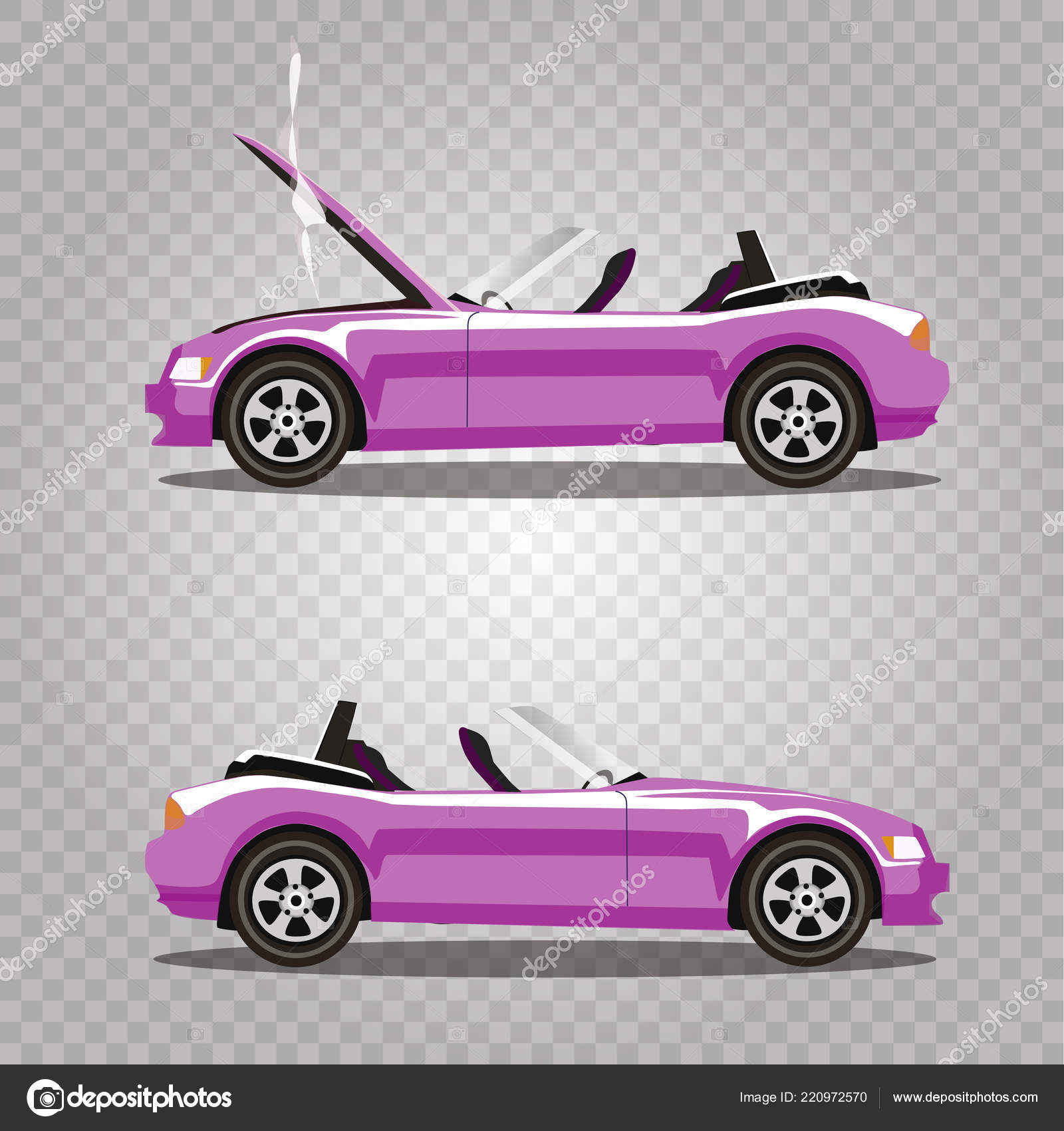 Vector Set Broken Rose Luxury Cabriolet Sport Cartoon Car Opened