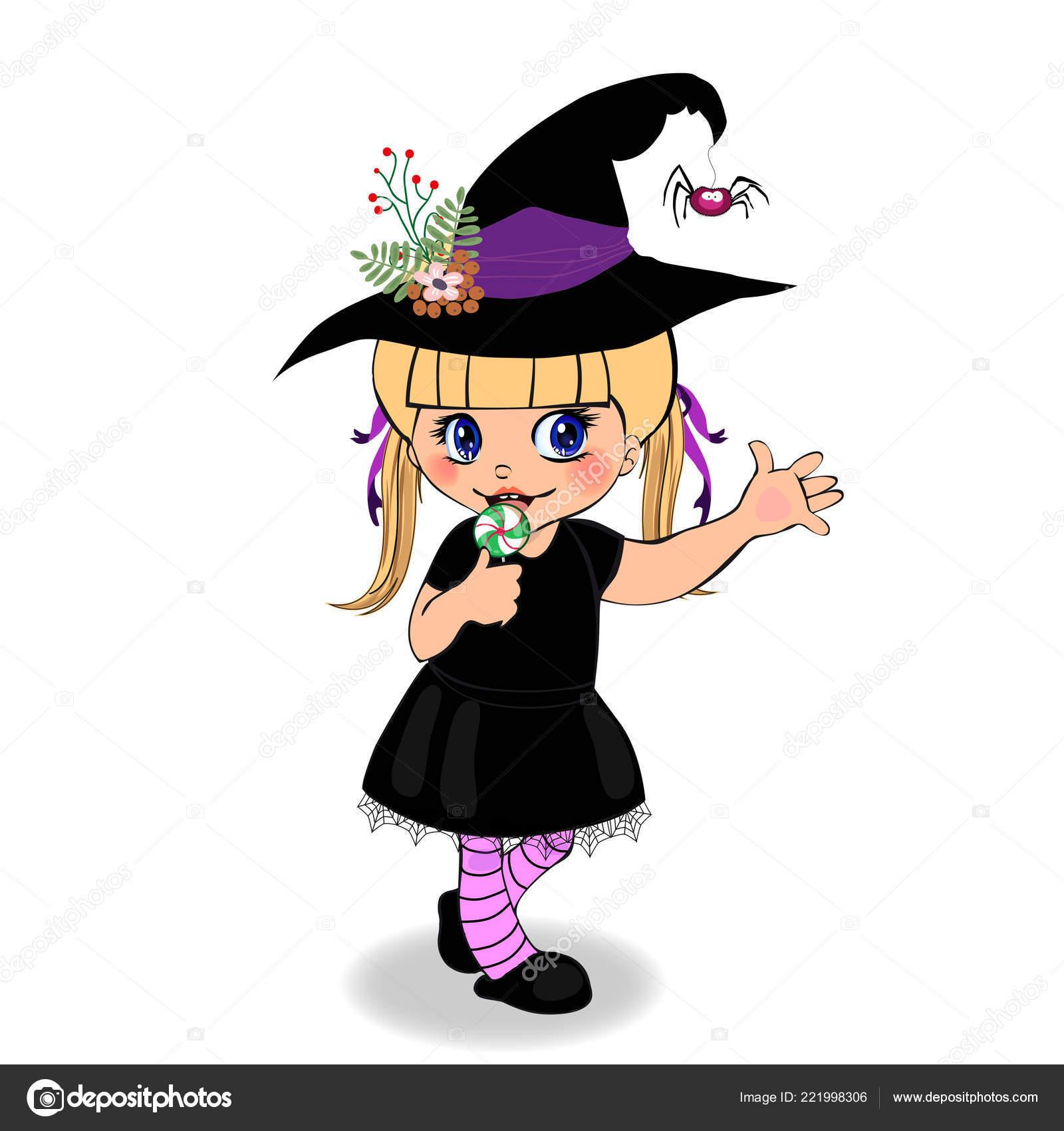 Personnage Dessin Animé Halloween Heureux Petite Fille