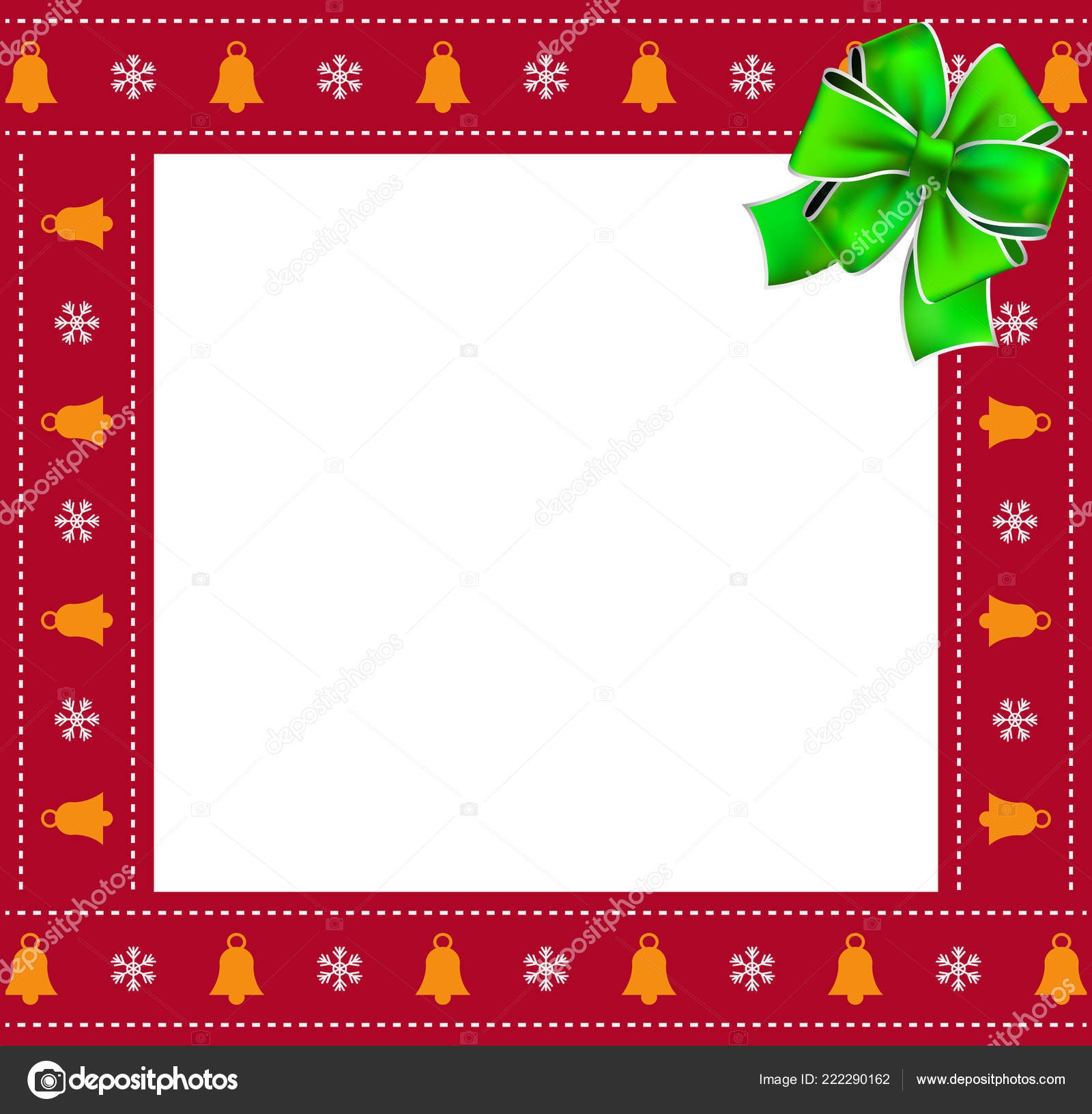 cute christmas or new year square border photo frame with bells and snowflakes pattern and green festive ribbon isolated on white background vector
