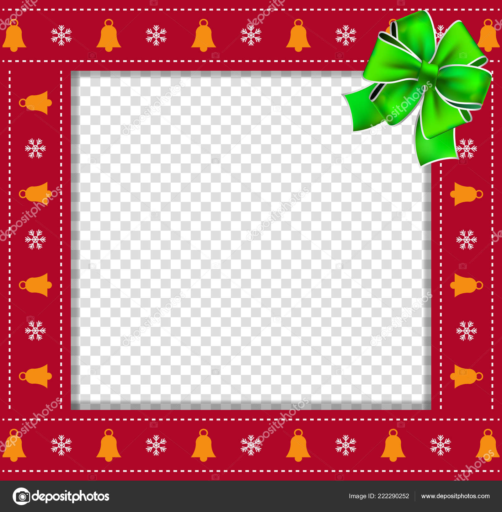 cute christmas new year square border photo frame bells snowflakes stock vector