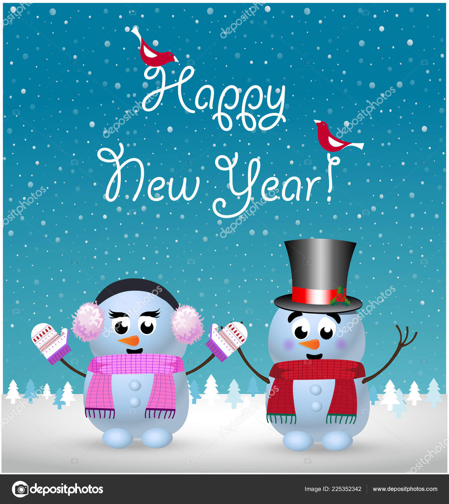 happy new year greeting card cute little baby snowman snowgirl stock vector