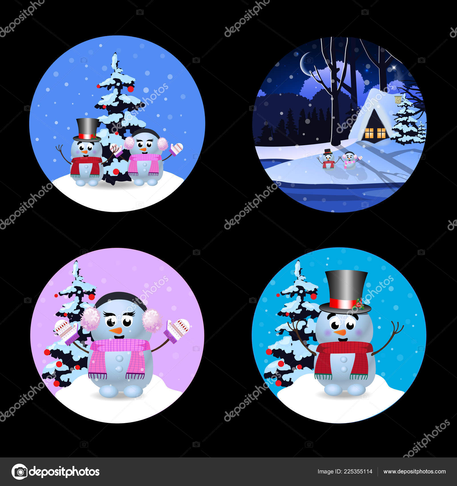 Christmas New Year Signs Set Cute Cartoon Characters Snowman Winter ...