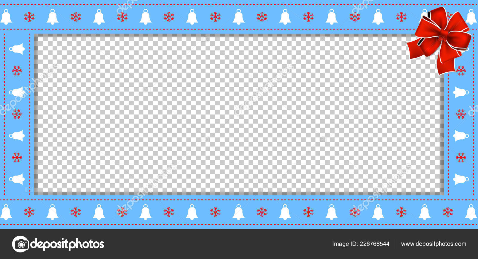 cute christmas or new year border with xmas bells snowflakes pattern and red bow on transparent background vector rectangle template frame scrapbooking