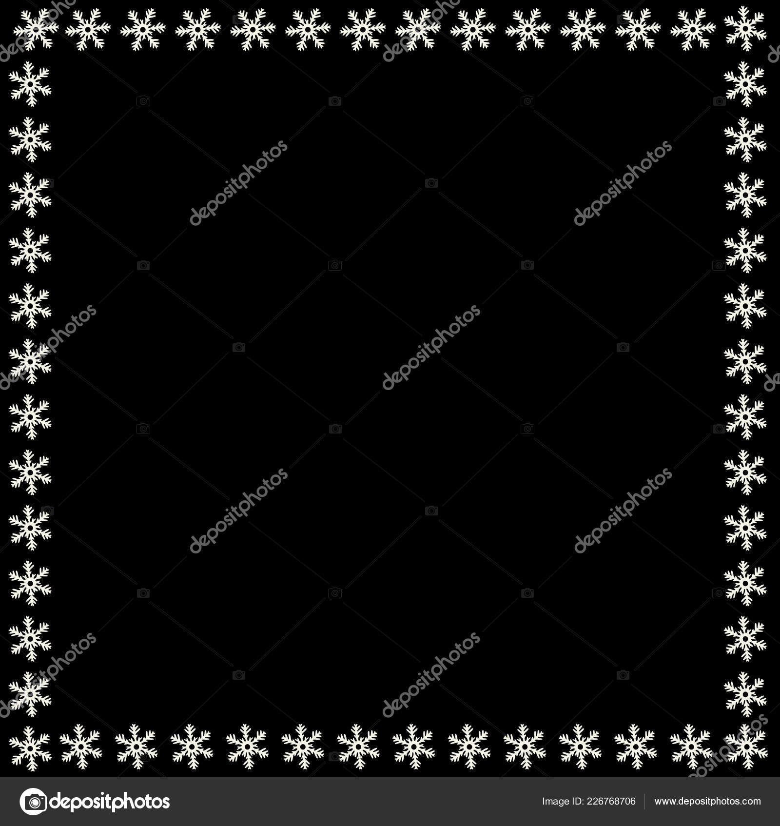 snowflake border christmas new year holidays square snowflakes frame black stock vector