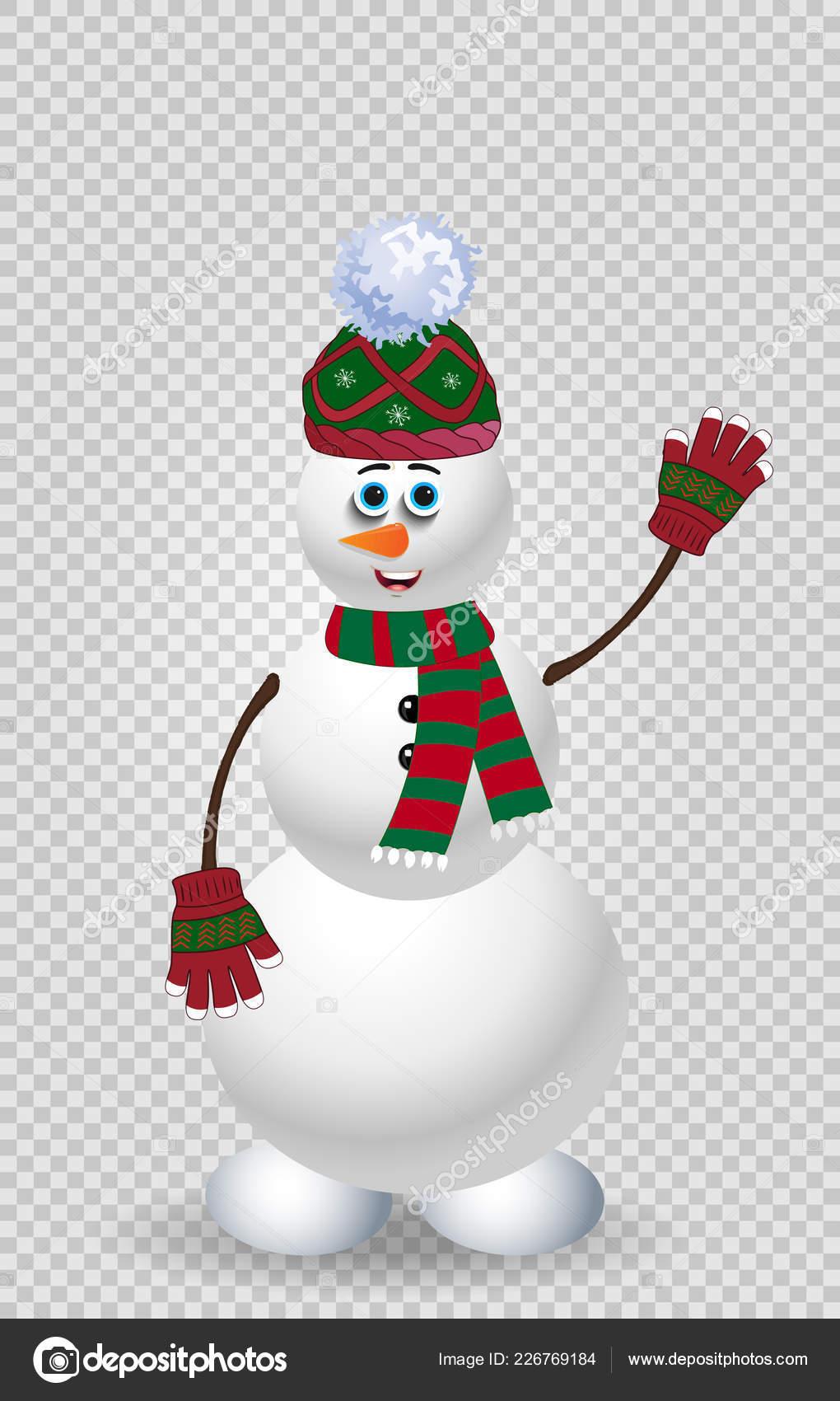 Niedlichen Schneemann Zeichentrickfigur Grün Stricken Mütze Schal