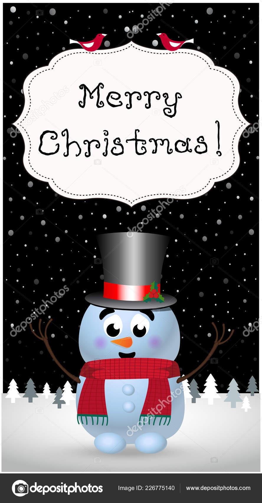Merry Christmas Greeting Card Cute Cartoon Cheerful Snowman ...