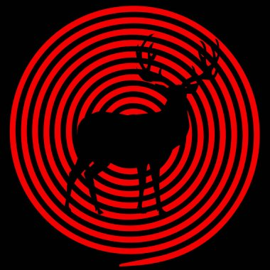 Vector black and red illustration of deer with crosshairs. Reindeer silhouette with big horns on hunting target aim background. Template for outdoor recreation, hunt season concept, logo, sign, symbol