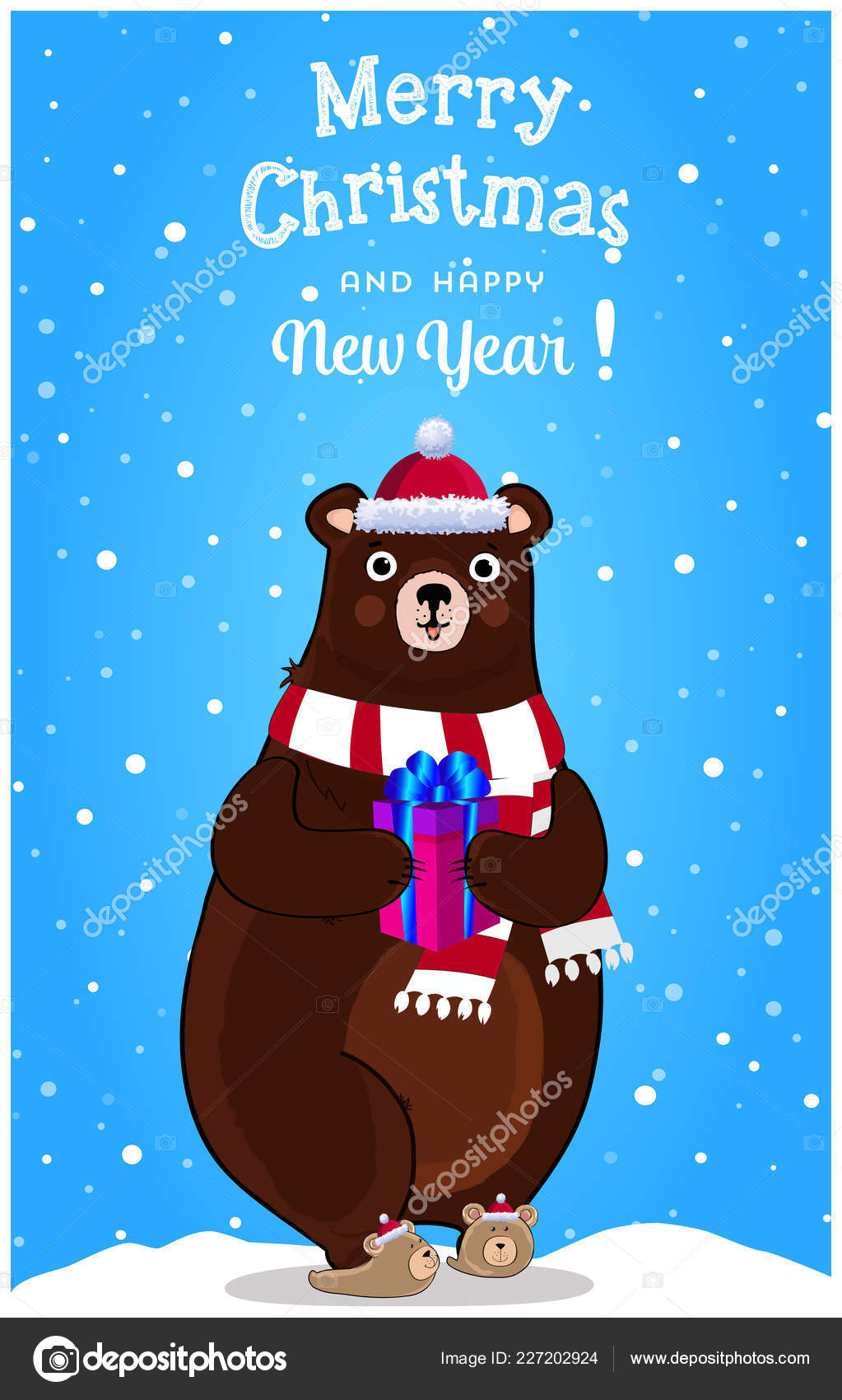 merry christmas happy new year greeting card cute cartoon cheerful stock vector