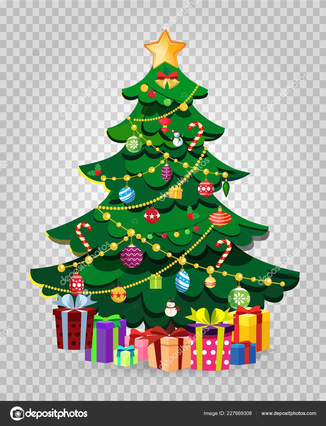 niedlichen cartoon dekoriert weihnachten tannenbaum mit. Black Bedroom Furniture Sets. Home Design Ideas