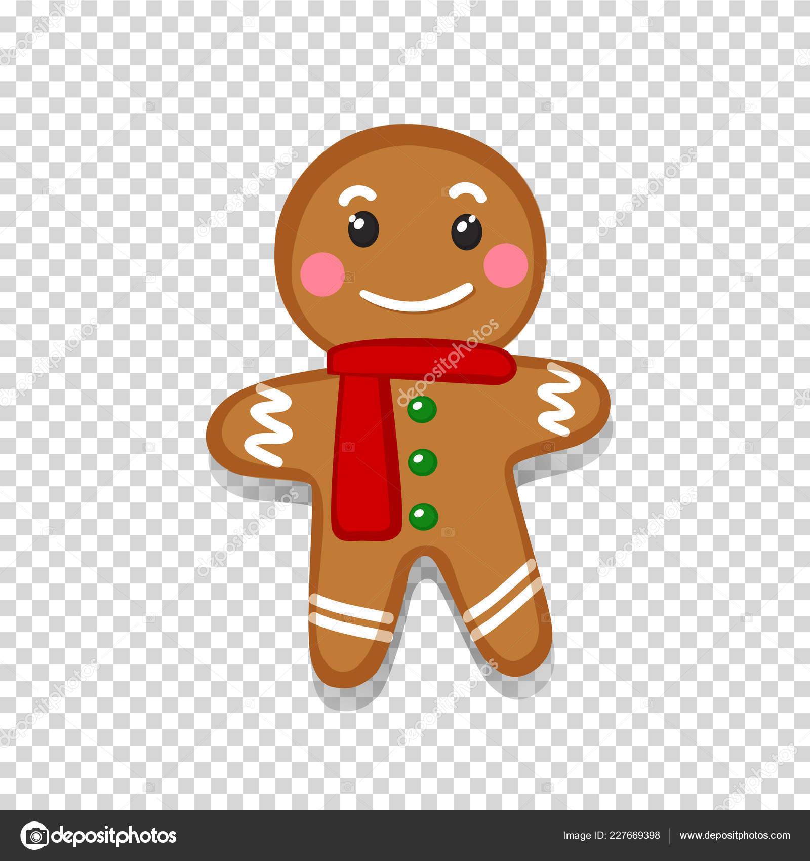 Weihnachtsplätzchen Clipart.Vektor Illustration Von Süß Lächelnd Cartoon Lebkuchenmann Isoliert