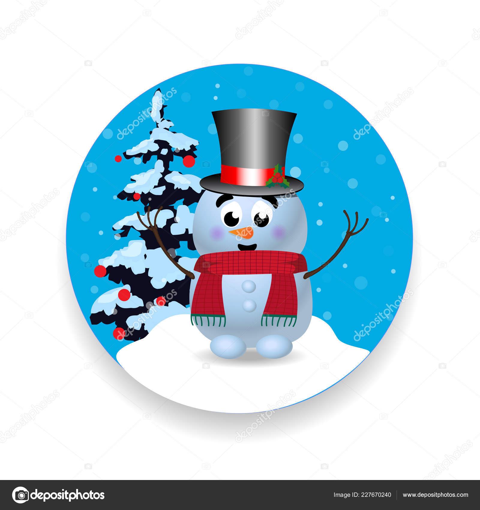 Weihnachten Neujahr Runde Zeichen Symbol Mit Niedlichen Cartoon