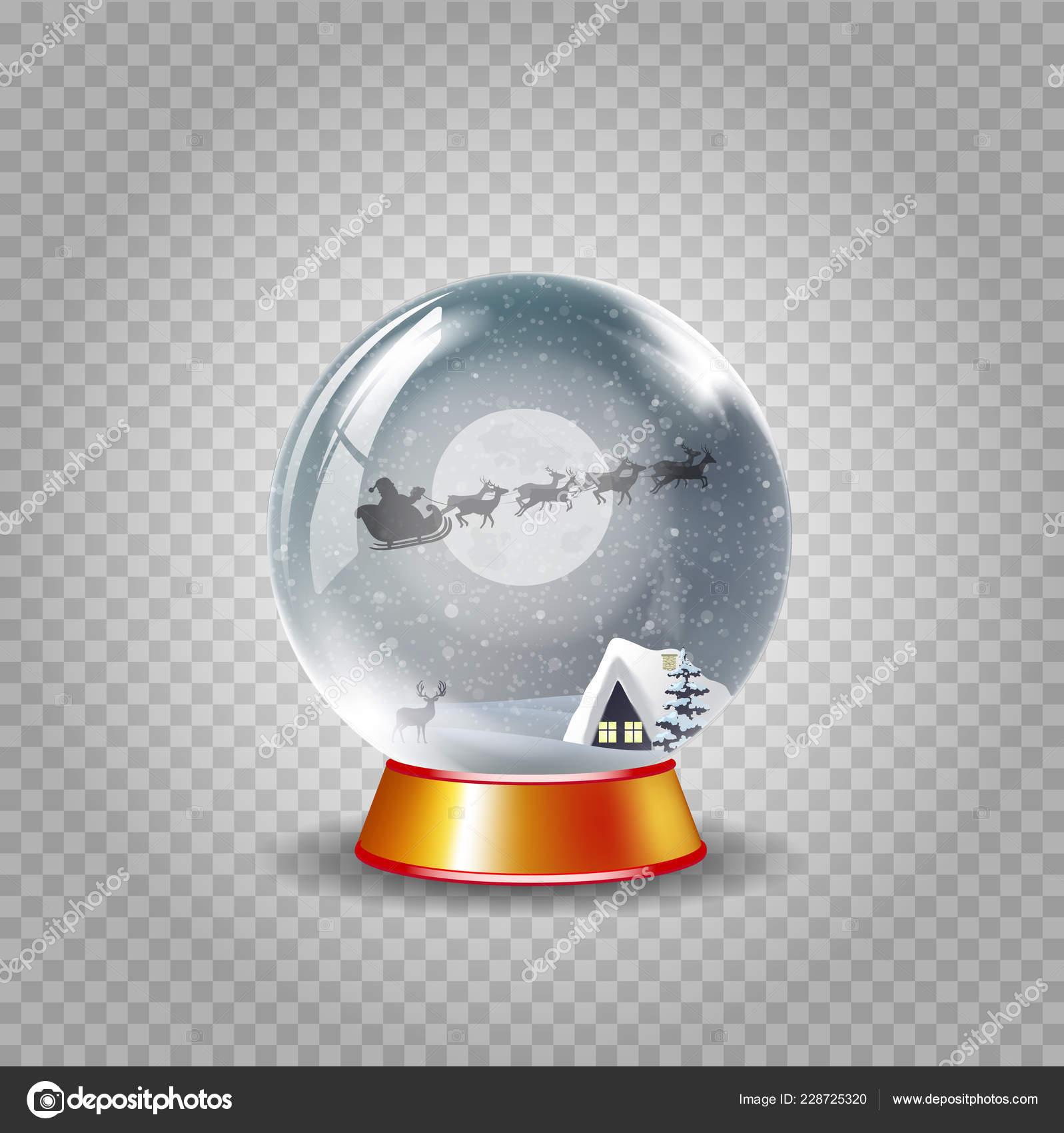christmas new year crystal snow globe winter snowy night landscape stock vector
