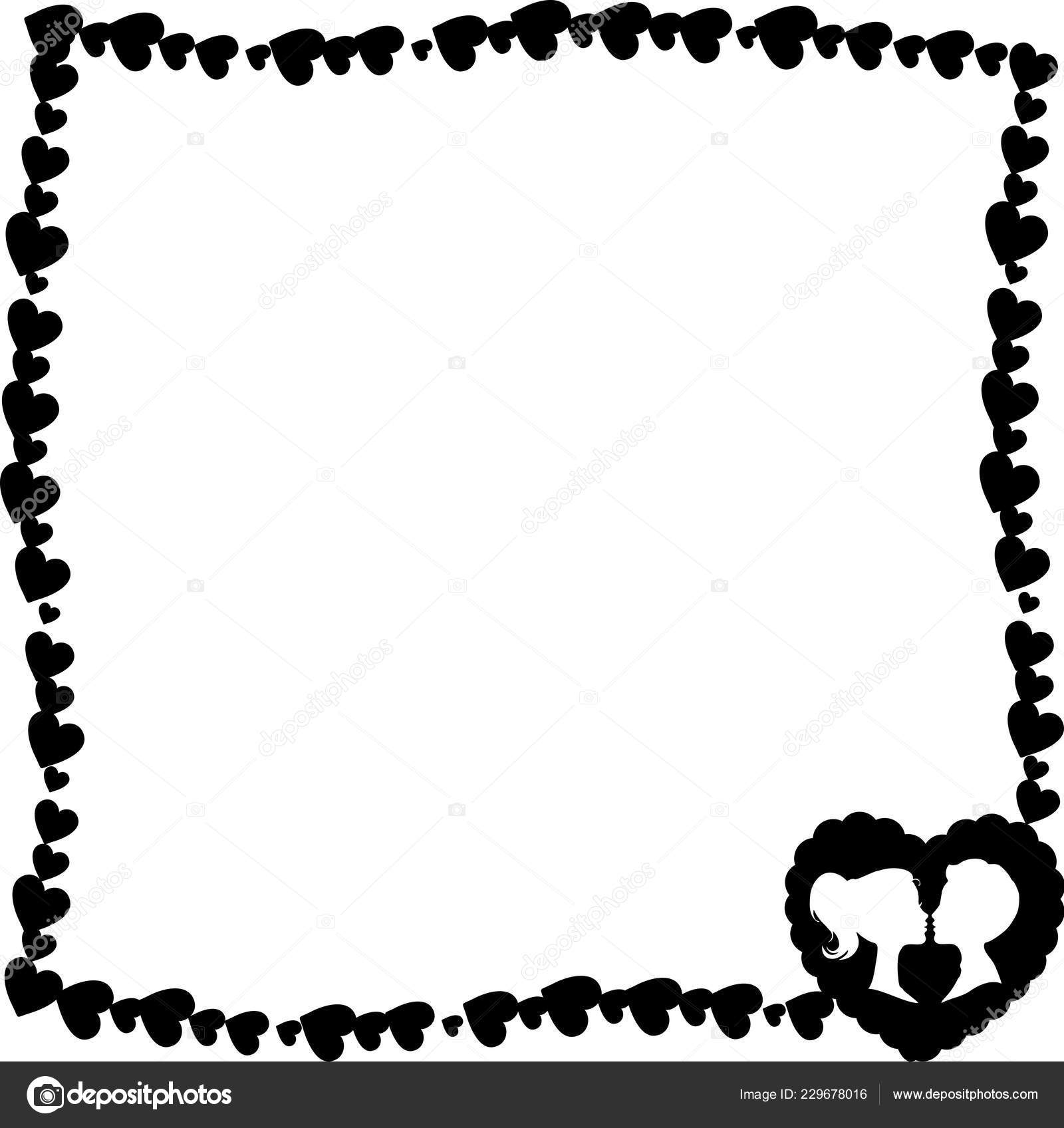 valentines day borders black and white