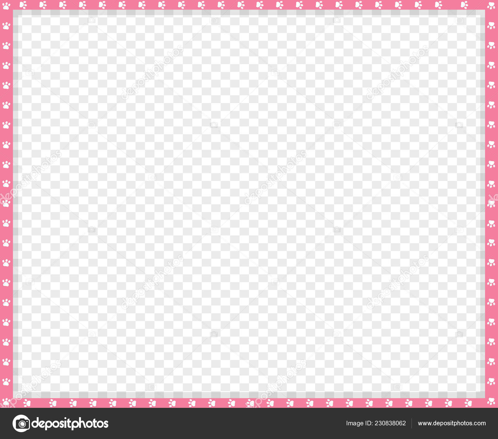 Cute Rectangle Pink White Photo Frame Made Animal Paw Print Stock