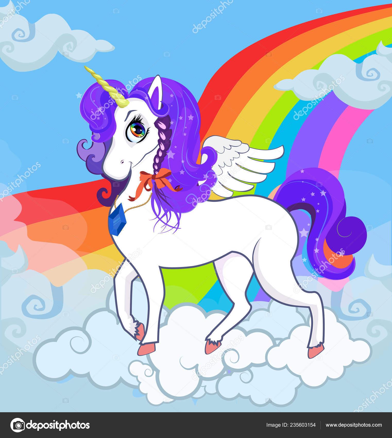 Multicolored Cartoon Kids Illustration White Pony Unicorn Princess