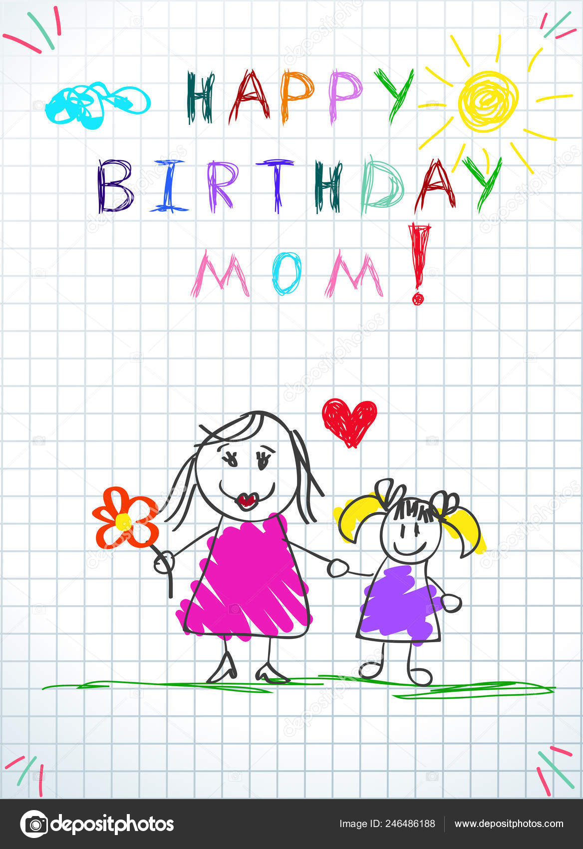 Happy Birthday Mom Children Colorful Hand Drawn Vector