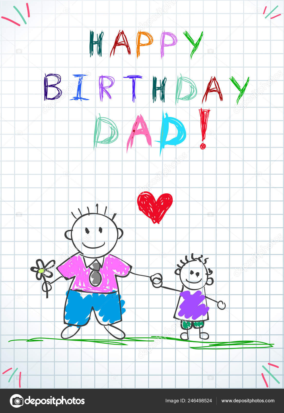 Happy Birthday Dad Children Colorful Hand Drawn Illustration Of Father And Son Together Hold Flowers Heart Between Squared Notebook Sheet Paper Baby