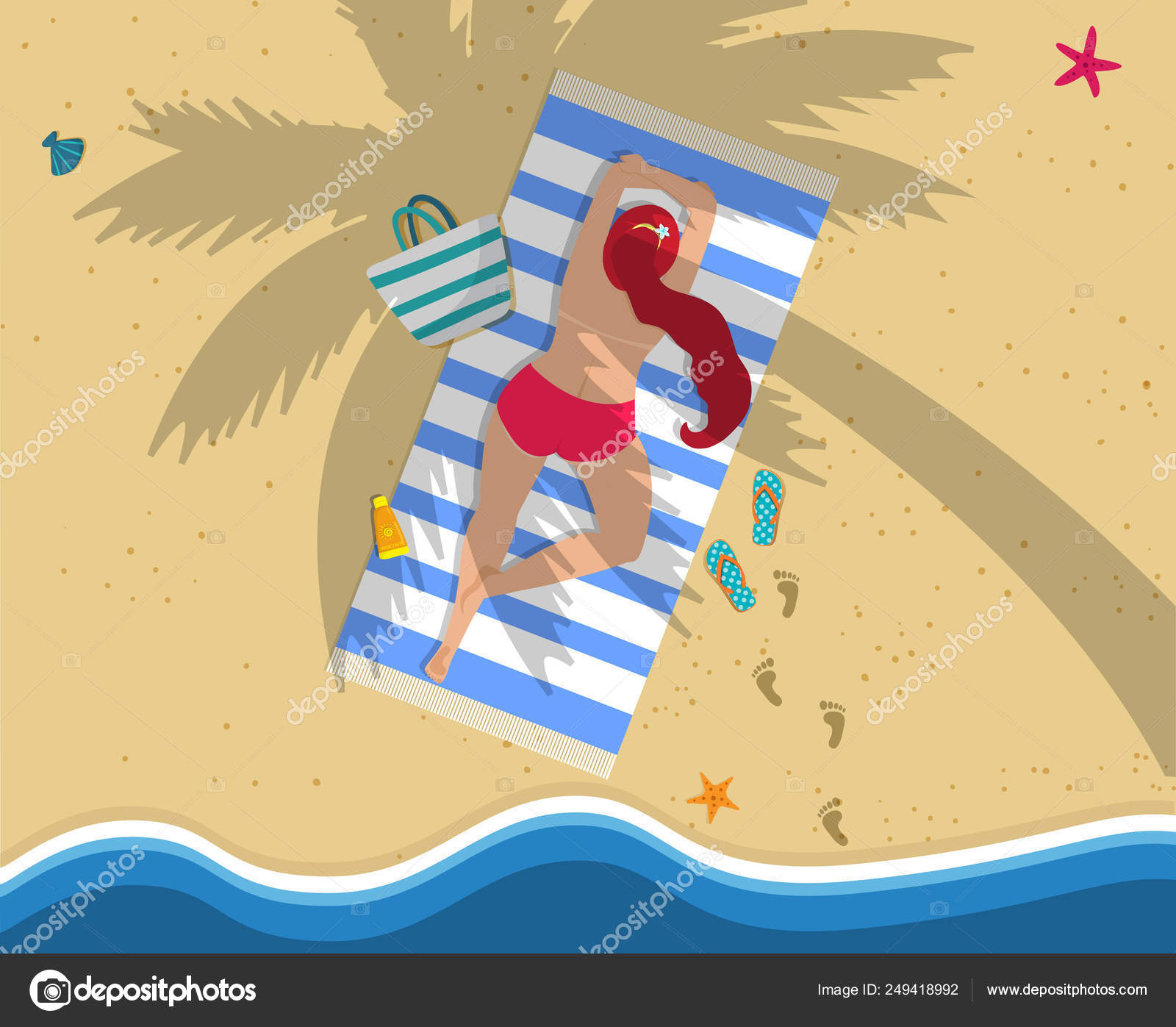 ecfa25484146 Mujer en Bikini rojo acostada sobre el vientre en toalla de playa ...
