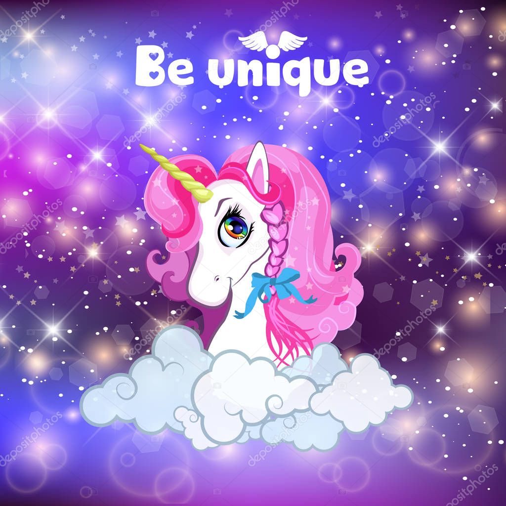 Unicorn Head With Pink Mane Portrait On Rainbow Mesh Kawaii Universe Galaxy Space Or Night Sky Holographic Background Clouds Magic Sparkles Stars Typography Be Unique Cartoon Vector Illustration Premium Vector In