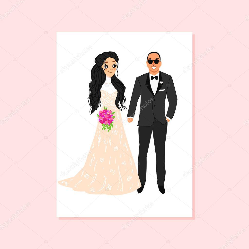 Любимому, открытки с изображением жениха и невесты