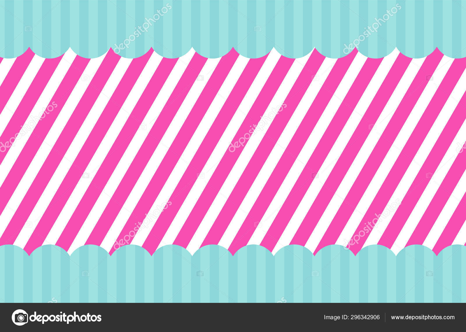 Pink Vector Template Of Invitation Card For Little Girl