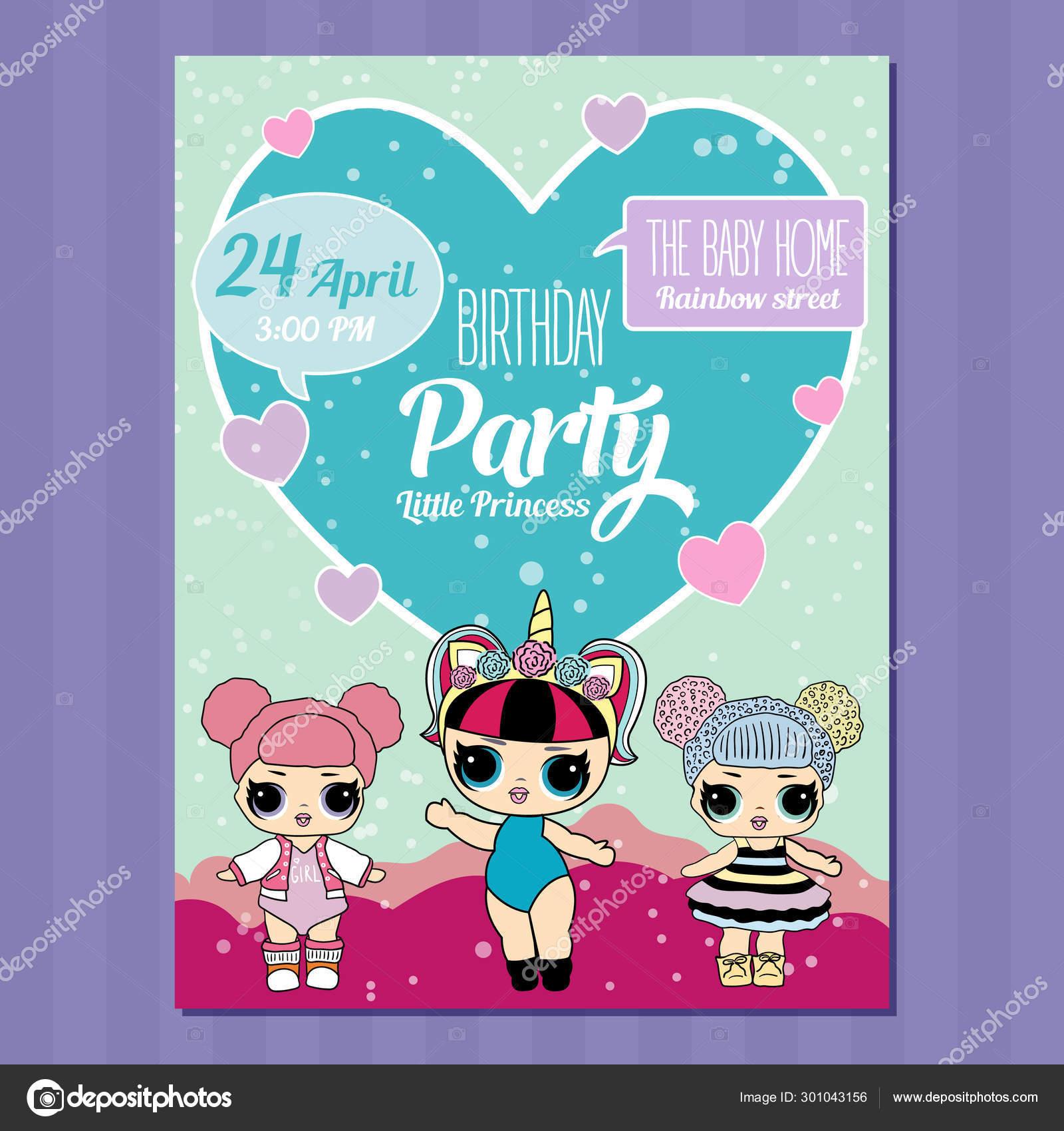 Birthday Invitation With Cute Lol Dolls Element Of Design