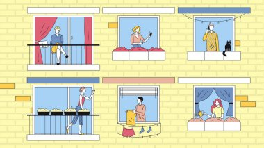 Concept Of People Leisure At Home. Characters Are Spending Time At Home In Apartments. Neighbors Communicate To Each Other, Do Their Business. Cartoon Linear Outline Flat Style. Vector Illustration