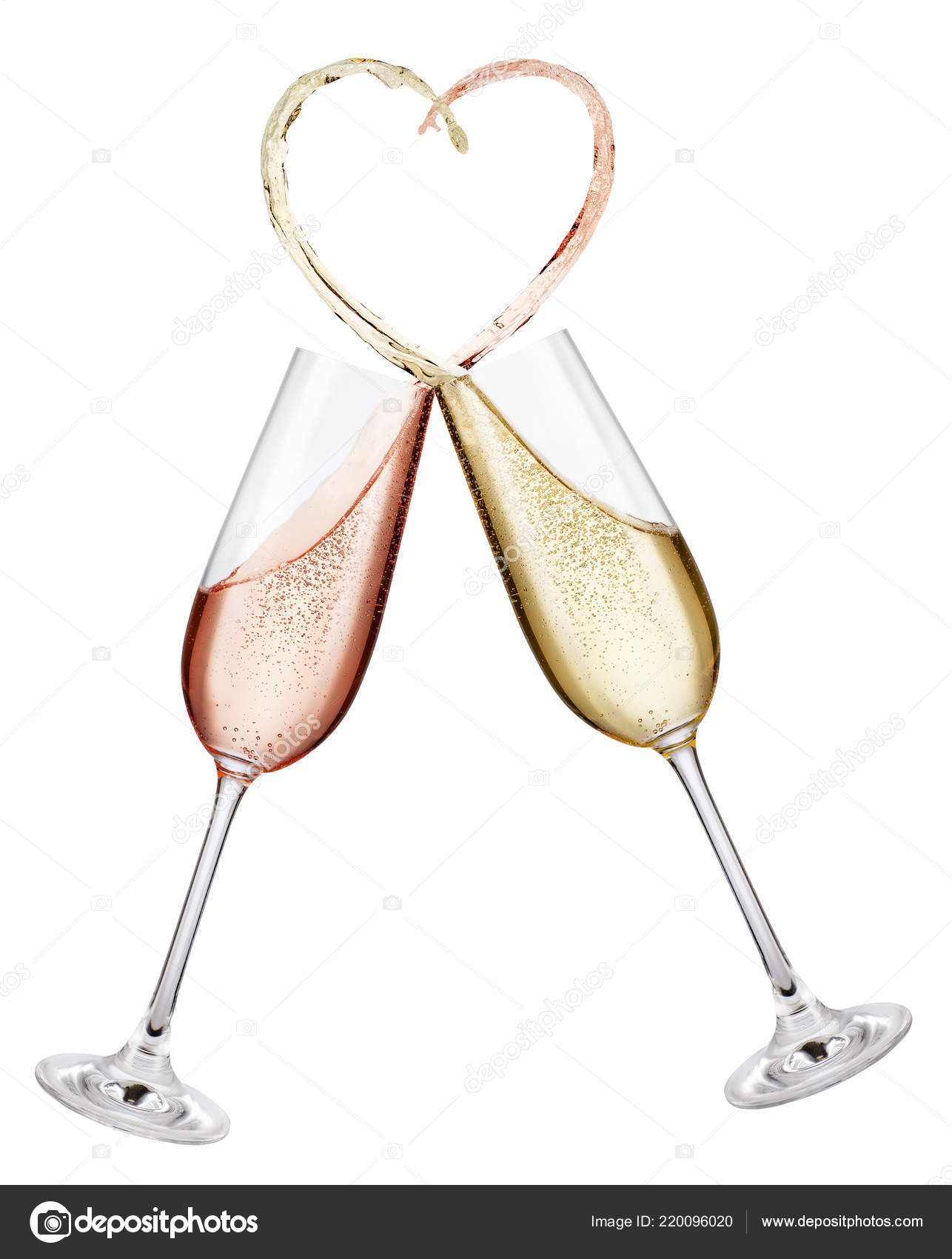 0f2be3d24395 Glasses of pink and golden champagne making toast with splash in the shape  of heart isolated on white background — Photo by ...