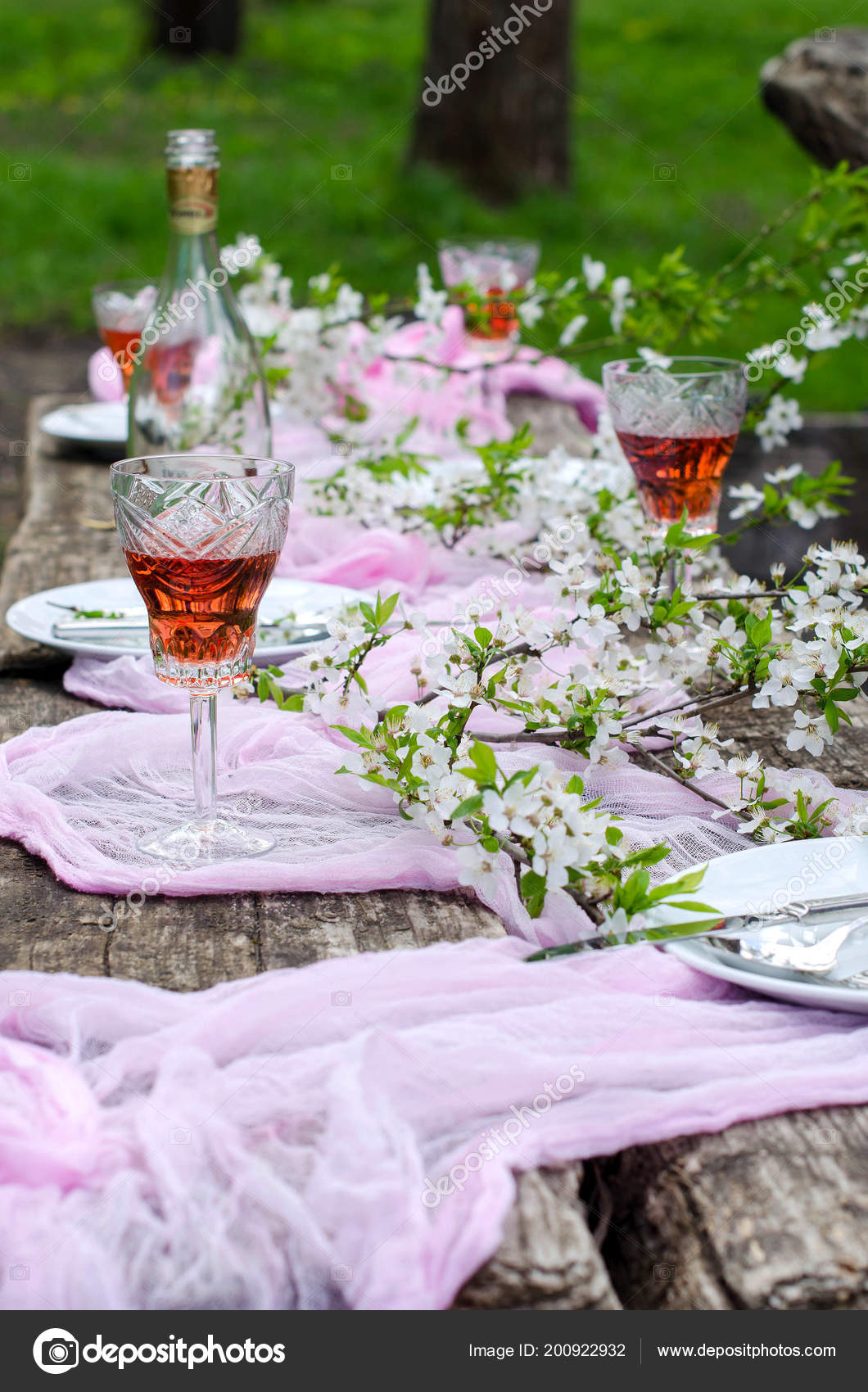 Belle Table Fond Fête Dans Jardin Ancienne Table Bois