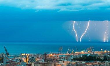 Thunder storm lightning strike on the sea  background at night.