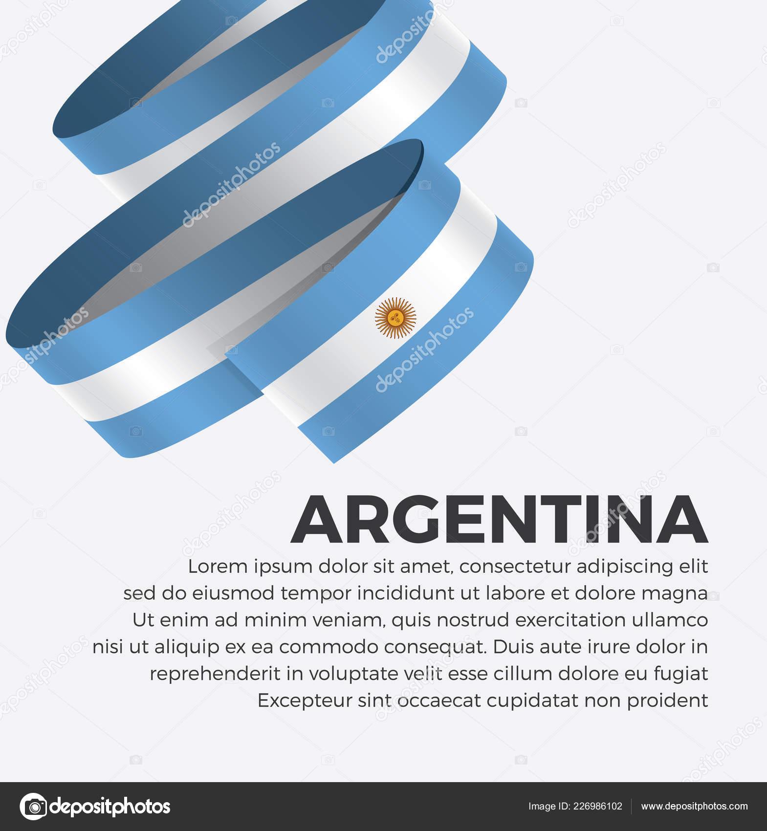 Bandeira Argentina Fita Modelo Criativo Fundo Simples