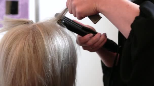 An elderly woman with short gray hair is doing styling in a beauty salon. Stylist straightens hair with an iron. Video