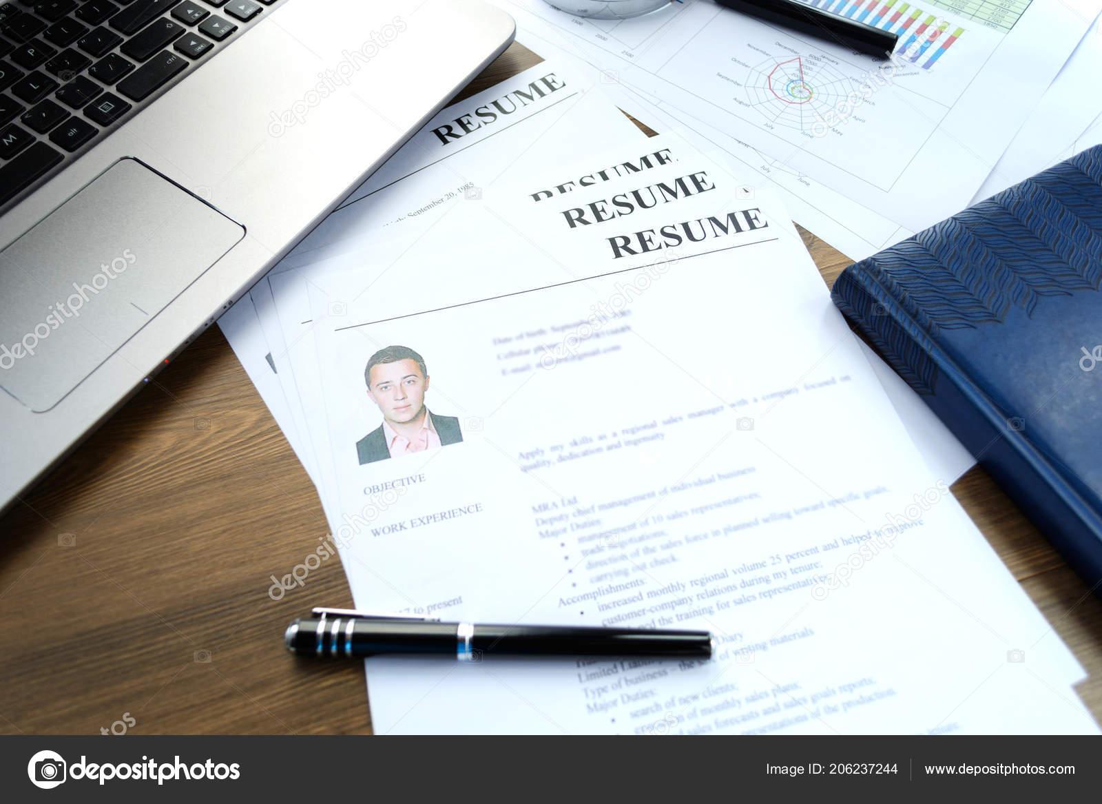 Resume Curriculum Vitae Pen Written Wooden Table Stock Photo