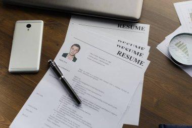 Resume (autobiography), pen, magnifier, laptop on your desktop. job search