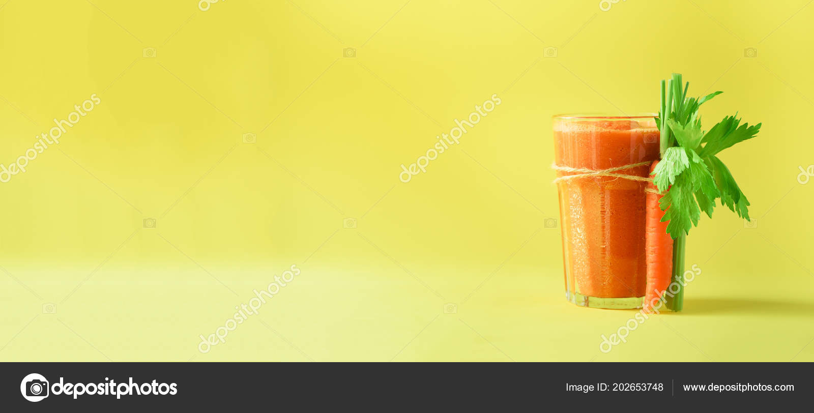 Organic Carrot Juice With Carrots Celery On Yellow Background Fresh Vegetable Smothie In Glass Banner Copy Space Summer Food Concept Healthy Detox Eating Alkaline Diet Stock Photo C J Chizhe 202653748