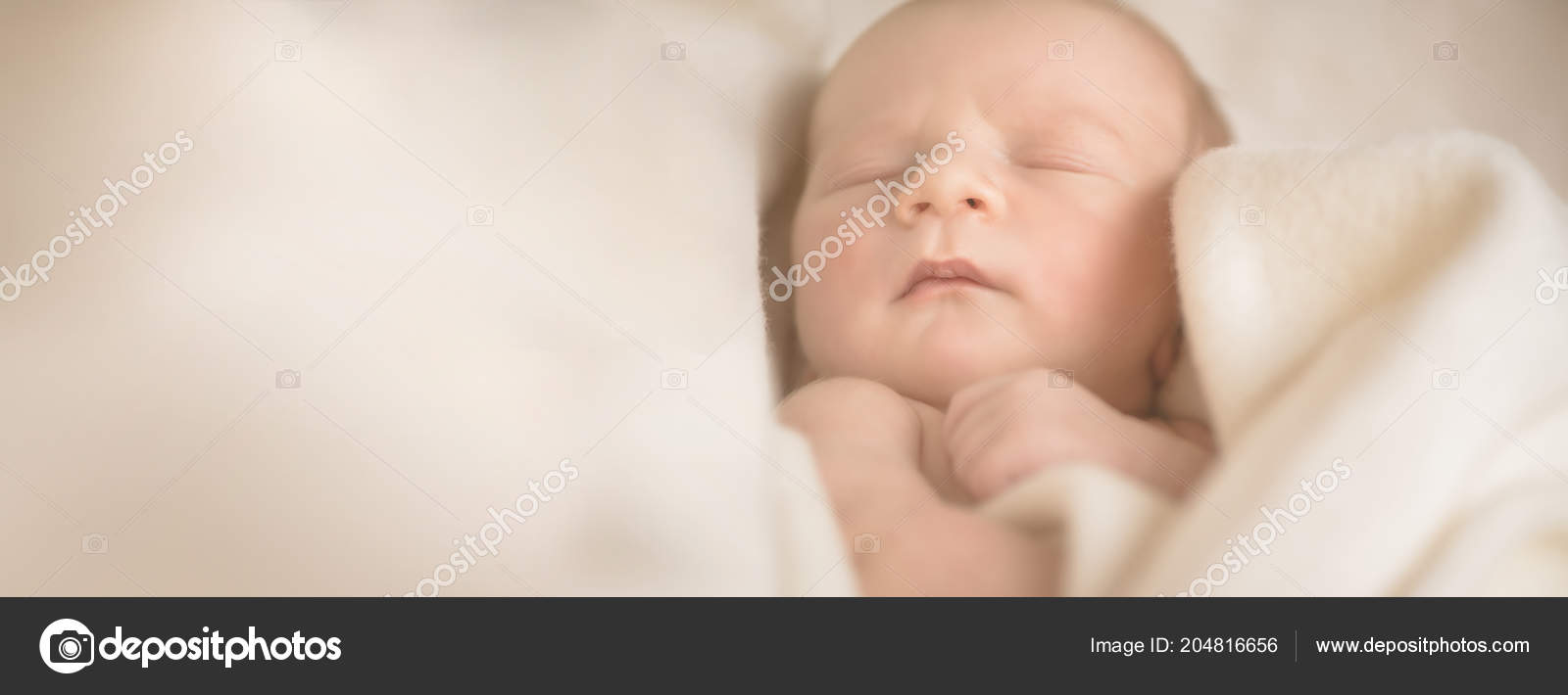 Little Sleeping Newborn Baby In Wrap Creamy Blanket 13 Days Old Copy Space For Your Text Maternity Family Birth Concept Banner Stock Photo C J Chizhe 204816656