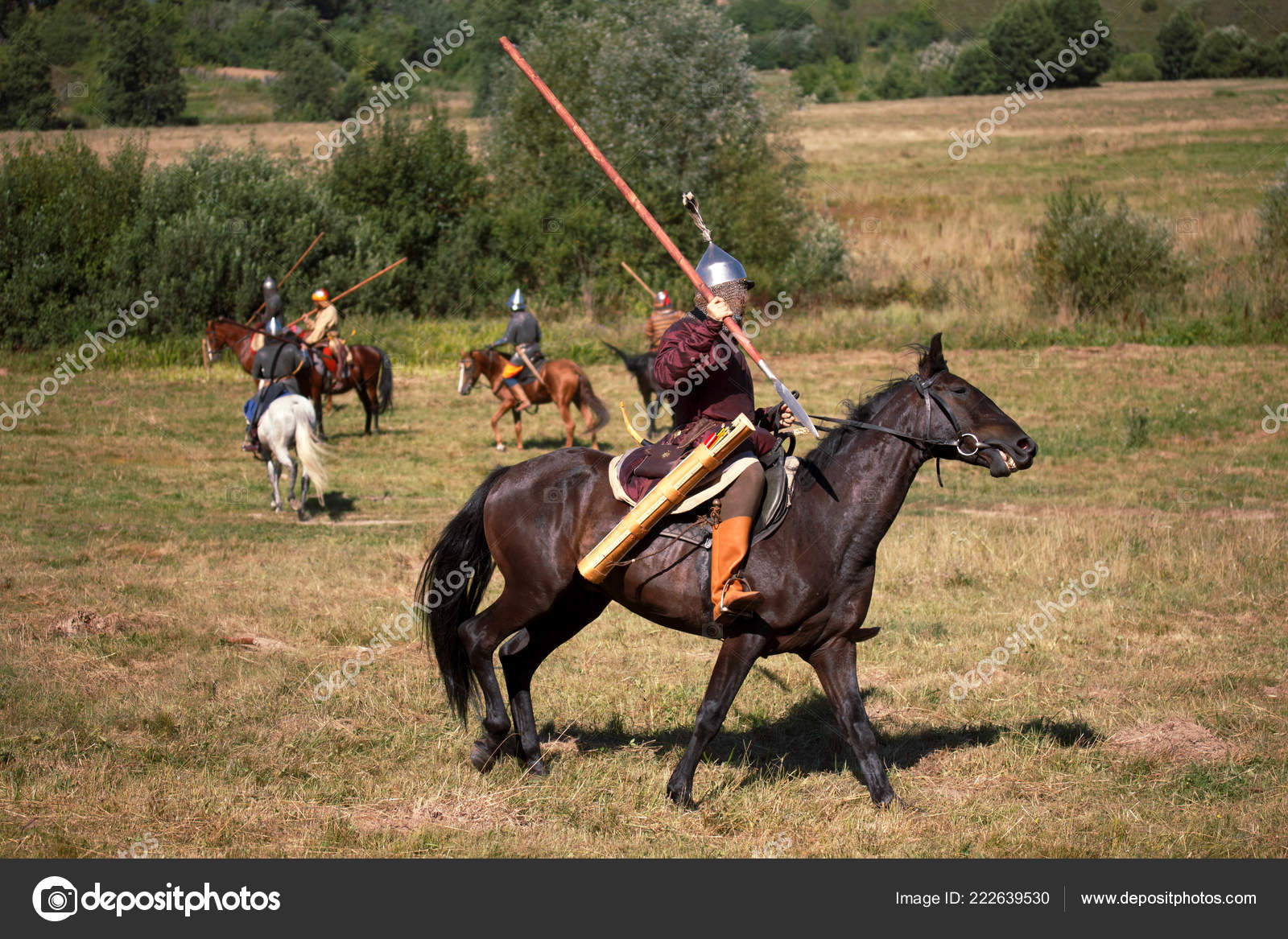 Reconstruction Medieval Armored Knight With Lance On Horse From Fantasy Equestrian Soldier In Historical Costume Rider Is In The Field Stock Editorial Photo C Valyalkin 222639530