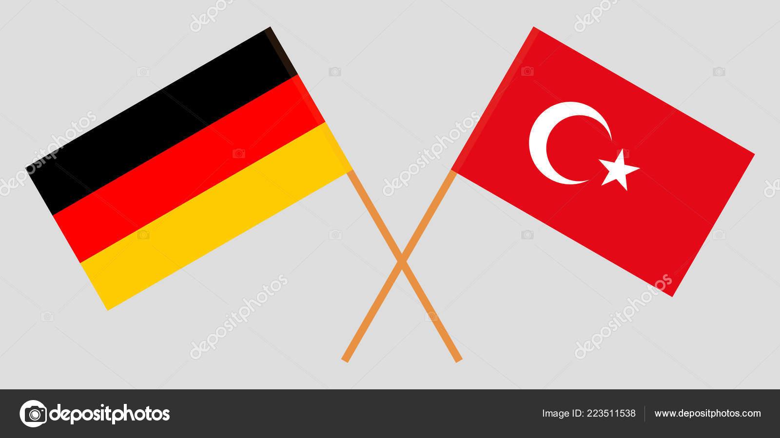 41c7ccb660910 As bandeiras cruzadas de Turquia e Alemanha. Cores oficiais. Ilustração  vetorial — Vetor de valyalkin