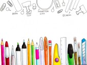 back to school concept. White background with different stationery and office supplies hand drawn illustration made with markers