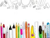 zurück zum Schulkonzept. Weißer Hintergrund mit verschiedenen Bürobedarf und Schreibwaren liefert handgefertigte gezeichnete Abbildung mit Markern