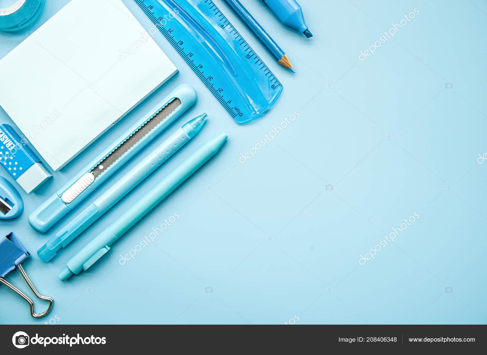 Exceptionnel Back School Concept Office Supplies Blue Stationery Blue Background Top U2014  Stock Photo
