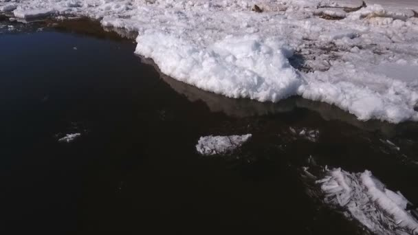 aerial view on looking down on volga river with beautiful frozen ice