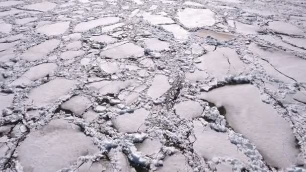 Aerial view of frozen lake. Ice from drone view. Background texture concept.